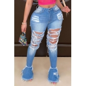 Lovely Trendy Hollow-out Deep Blue Plus Size Jeans