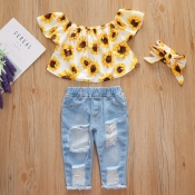 lovely Trendy Sunflower Print White Girl Two-piece Pants Set