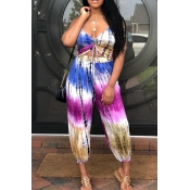 lovely Bohemian Tie-dye Purple Plus Size One-piece