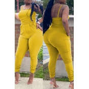 lovely Sexy Pocket Patched Yellow Plus Size One-pi