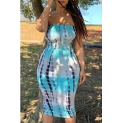 lovely Bohemian Tie-dye Blue Knee Length Dress