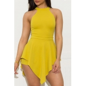 Lovely Trendy Asymmetrical Yellow One-piece Romper