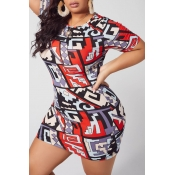 lovely Leisure O Neck Print Red Mini Plus Size Dre