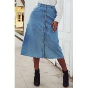 lovely Stylish Buttons Design Blue Skirt