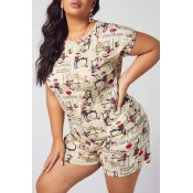 lovely Casual O Neck Print Apricot Plus Size Two-p
