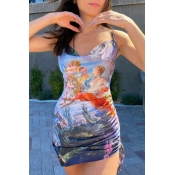 lovely Sexy Print Multicolor Mini Dress