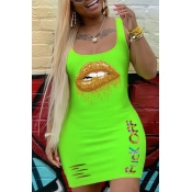 lovely Casual Lip Print Green Mini Dress