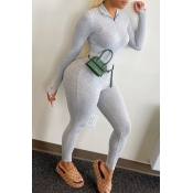 lovely Sportswear Zipper Design Grey Plus Size One