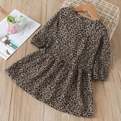 lovely Stylish Leopard Print Girl Knee Length Dres