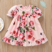 lovely Stylish Floral Print Pink Girl Knee Length