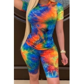 lovely Casual Tie-dye Green Plus Size Two-piece Sh