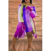 lovely Sweet Print Purple Mini Plus Size Dress