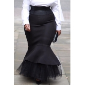 lovely Trendy Patchwork Black Plus Size Skirt