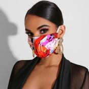 Lovely Casual Print Rose Face Mask