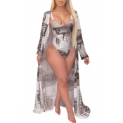 lovely Print Brown One-piece Swimsuit(With Cover-u