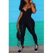 lovely Stylish Skinny Black Plus Size One-piece Ju