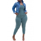 Lovely Sexy Pocket Patched Blue Plus Size One-piec