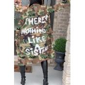 Lovely Stylish Camo Print Plus Size Jacket