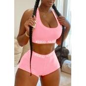 Lovely Sportswear U Neck Letter Light Pink Two-pie