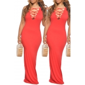 lovely Sexy Hollow-out Red Maxi Dress