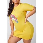 lovely Casual Print Yelow Mini Plus Size Dress
