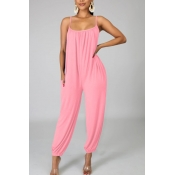 lovely Leisure Loose Pink One-piece Jumpsuit