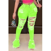 lovely Trendy Hollow-out Green Jeans
