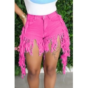 lovely Casual Tassel Design Yellow Denim Shorts