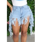 lovely Casual Tassel Design Baby Blue Denim Shorts
