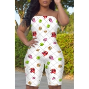 lovely Stylish Dew Shoulder Lip Print Pure White One-piece Romper