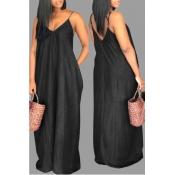 Lovely Casual V Neck Loose Black Plus Size Dress