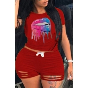 Lovely Casual Lip Print Red Plus Size Two-piece Sh