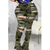 Lovely Stylish Camo Print Plus Size Jeans
