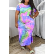 Lovely Casual Tie-dye Green Ankle Length Plus Size