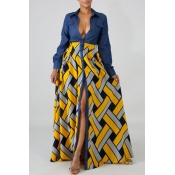 lovely Casual Print Patchwork Yellow Maxi Dress