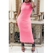 lovely Casual Basic Pink Mid Calf Dress