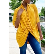 lovely Leisure Fold Design YellowT-shirt