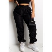 lovely Sportswear Fold Design Black Pants