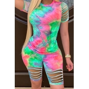 lovely Trendy Tie-dye Hollow-out Green Two-piece Shorts Set