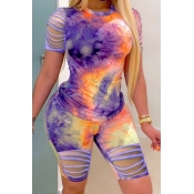 lovely Trendy Tie-dye Hollow-out Purple Two-piece