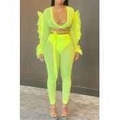 lovely Trendy Lace-up Green Two-piece Pants Set