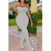 lovely Stylish Letter Print Grey One-piece Jumpsui