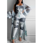 Lovely Leisure Print Blue Two-piece Pants Set