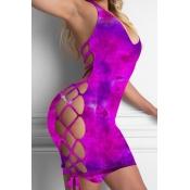 lovely Sexy Tie-dye Bandage Design Purple One-piec