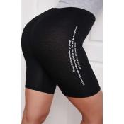 lovely Sportswear Letter Black Shorts