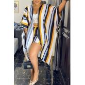 lovely Stylish Striped Dark Blue Two-piece Shorts