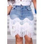 lovely Casual Tassel Design Baby Blue Denim Skirt