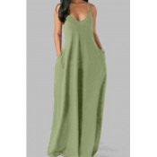 Lovely Leisure Pocket Patched Light Green Maxi Plu
