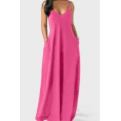 Lovely Leisure Pocket Patched Pink Maxi Dress