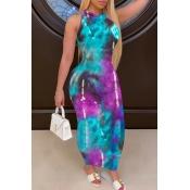lovely Trendy Tie-dye Blue Ankle Length Dress